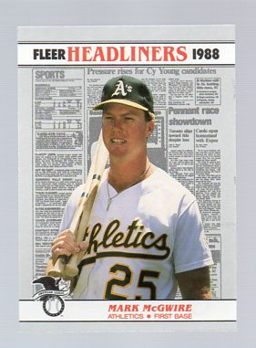 1988 Fleer Headliners Baseball Cards   002       Mark McGwire